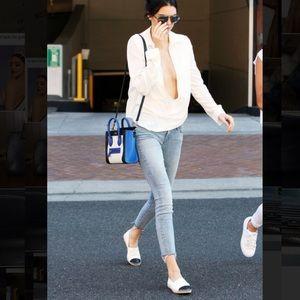 Chanel 37 espadrilles cap toe CC leather flats tan
